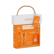 НАБОР VICHY Ideal Soleil: Спрей-вуаль SPF50 75мл + Освежающее увлажняющее молочко SPF50 100мл + чехол на чемодан в ПОДАРОК: фото